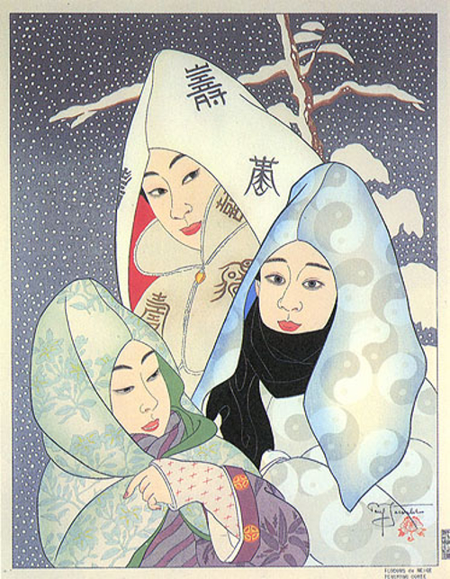Flocons De Neige. Pengyong, Coree - Paul Jacoulet, 1956