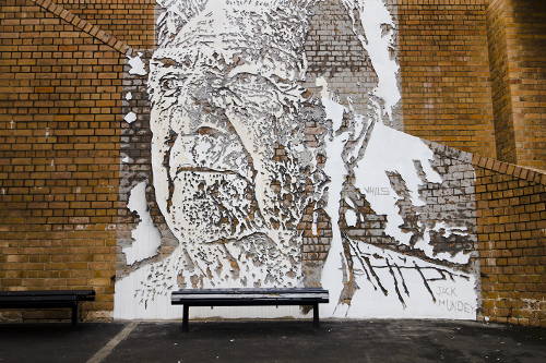 Vhils - Portrait of Jack Mundey